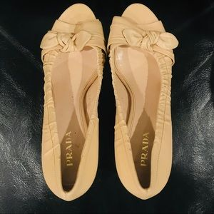 PRADA open toe leather bow nude tan heel shoes